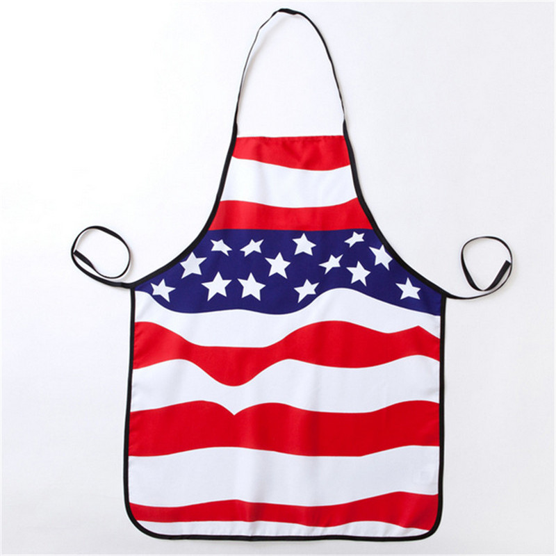 1 Pc 74x56 Cmcm Amerikaanse Vlag Patroon Polyester Nationale Vlag Keuken Koken Novelty Party Bbq Schort Voor Volwassen