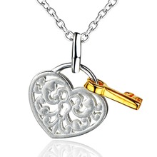 DORMITH free shipping 925 sterling silver Heart lock and key pendant necklace for women Christmas gift yellow gold plated