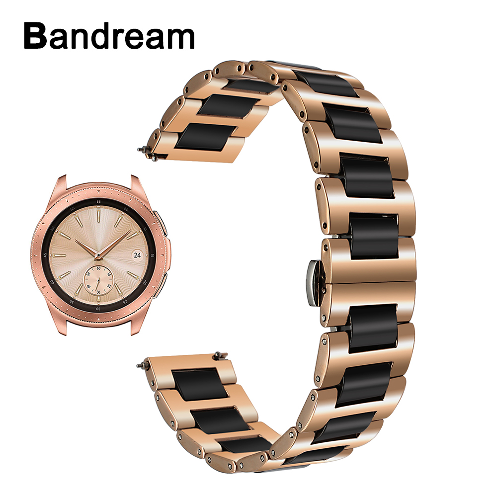 20mm Ceramic + Stainless Steel Watchband for Samsung Galaxy Watch 42mm SM-R810 Quick Release Strap Wrist Band Accessory Bracelet