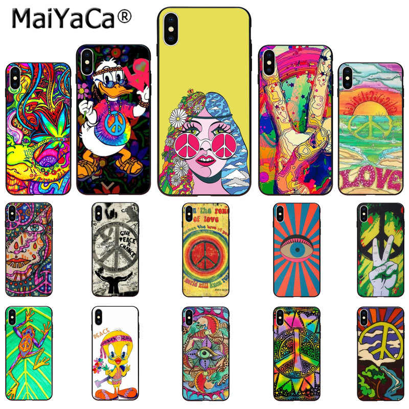 MaiYaCa Hippy Hippie Psychedelic Art Peace สีสันน่ารักสำหรับ iPhone 11 Pro 5Sx 6 7 7plus 8 8 PLUS X XS MAX XR