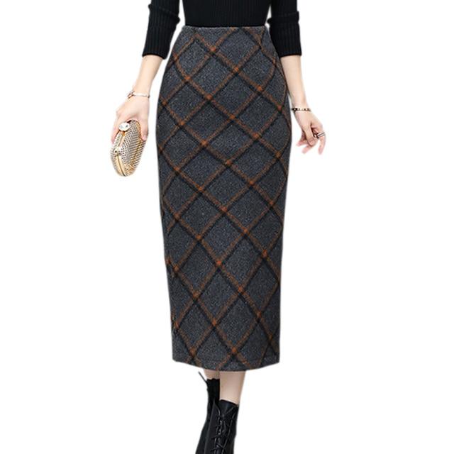 S-XXL шотландский Стиль Винтаж сзади Разделение клетчатая юбка Для женщин элегантный пакет хип Тонкий зиму Юбки для женщин теплая шерстяная юбка Офисные женские туфли