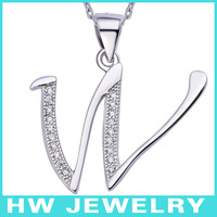BLAL023 925 Sterling Silver With CZ Alphabet Initial Letter W Pendants With Chains Necklace Jewelry Free