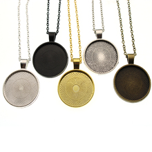 5pcs inner 25mm Round Necklace Pendant with Chains Necklace Clasp Settings Cabochons Bases Bezel Blank Trays DIY Cabochon Cameo 10pcs fit 25mm stainless steel cabochon base diy blank cameo pendant bezel settings diy jewelry necklace trays