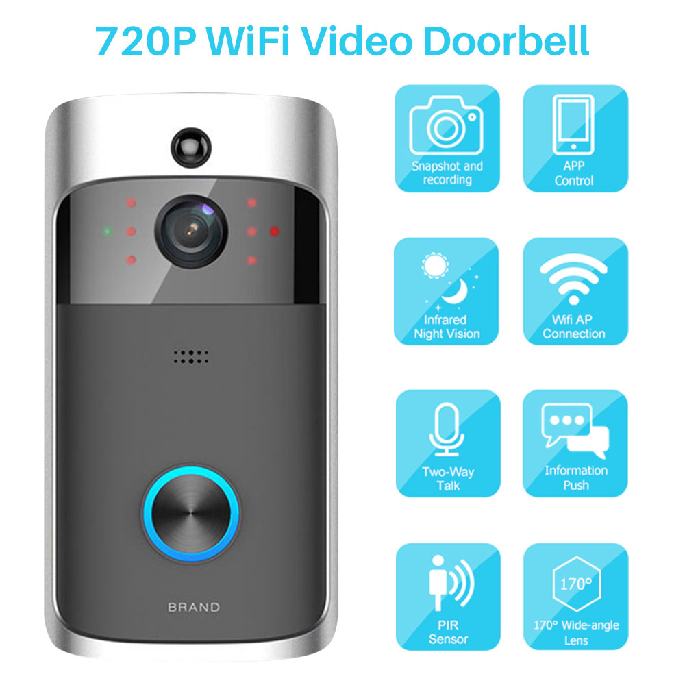 Smart Video Doorbell Camera 720P Video Intercom Door Bell Infrared Night Vision Remote Control Record Home Security Monitoring