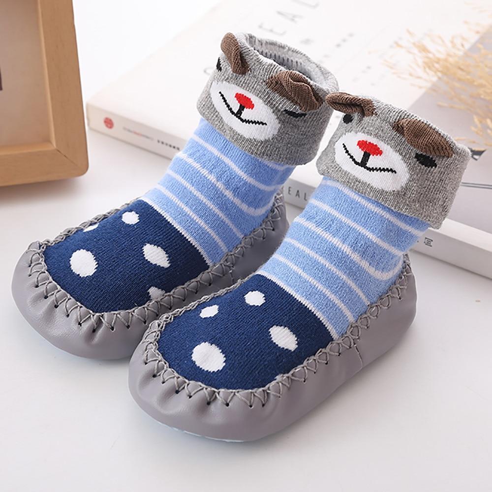 Весна-Осень-зима, носки для малышей с героями мультфильмов детские хлопковые нескользящие носки-тапочки с кожаной подошвой детские носки для новорожденных