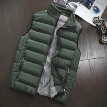 Autumn Vest Men Fashion Stand Collar Men's Sleeveless Jackets Casual Slim Fit Cotton Pad Coats Man Winter Waistcoats Plus Size