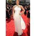 10294W Beaded Neckline Long Chiffon Kim Kardashian Red Carpet Celebrity Dresses 2017