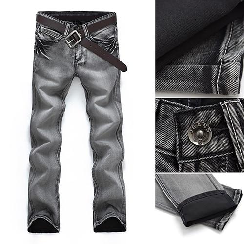 Classic Men Mid-Rise Straight Casual Denim Jeans Long Pants Fashion Trousers