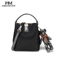 New Fashion Sequins Women Handbags Genuine Leather Shoulder Messenger Bags Two-tone Calfskin Small Handle Bag With Bear Pendant