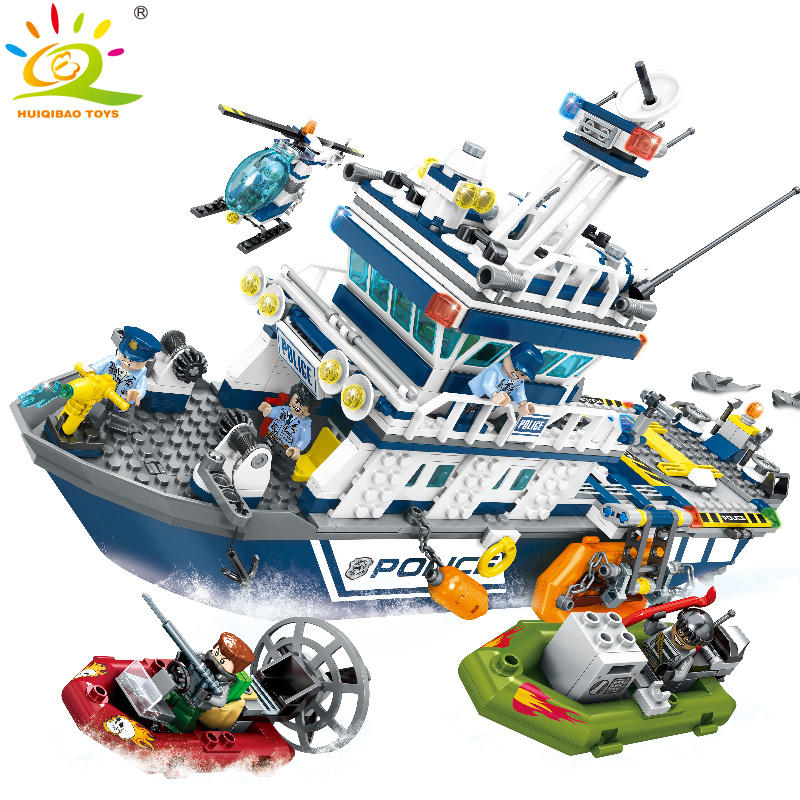 869pcs Police Patrol boat Helicopter Building Blocks Compatible Legoed city air Force plane Enlighten bricks toys for Children 1700 sluban city police speed ship patrol boat model building blocks enlighten action figure toys for children compatible legoe