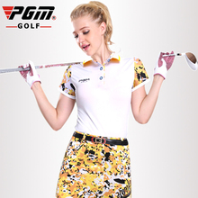 PGM Golf Polo T-shirt Women Camouflage splicing sleeves Golf T Shirt Breathable Anti Sweat Women's Short sleeves Golf T-shirt camouflage cold shoulder slit t shirt