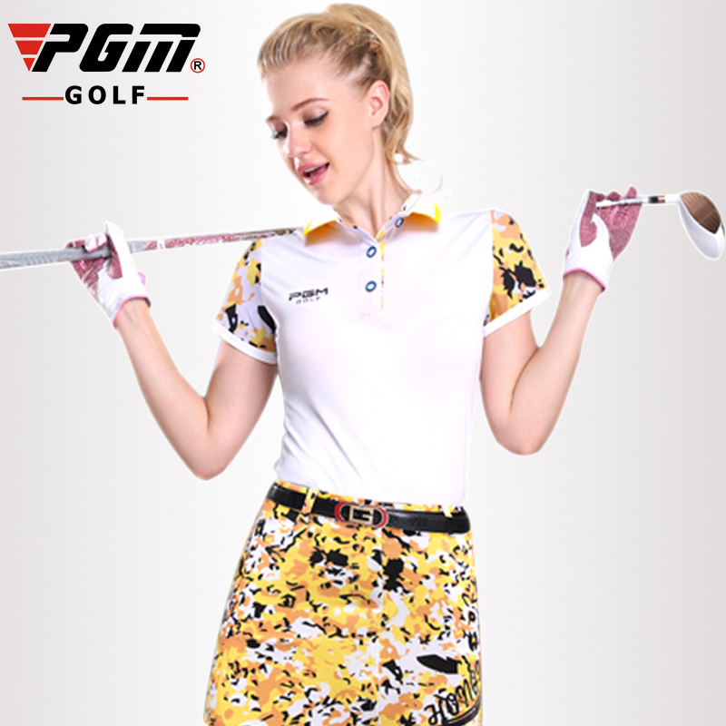 PGM Golf Polo T-shirt femmes Camouflage épissure manches Golf T-shirt respirant Anti-transpiration femmes manches courtes Golf T-shirt