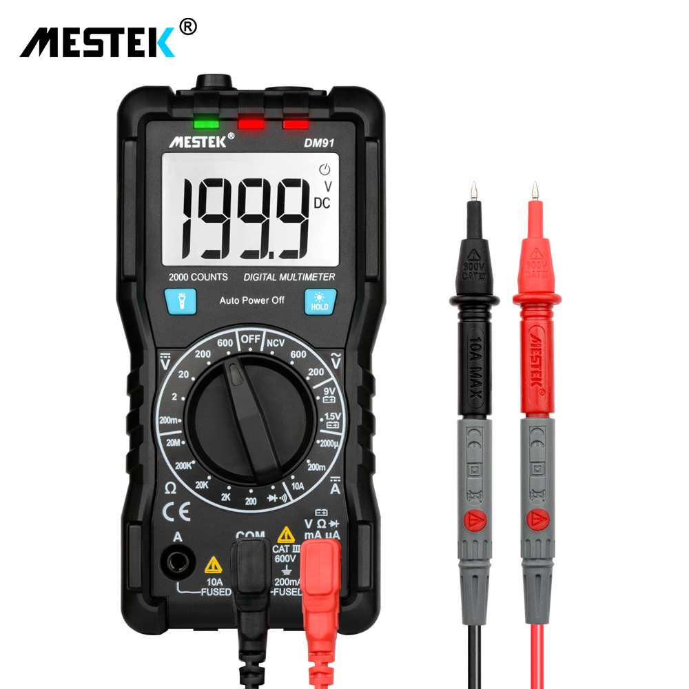 MESTEK multímetro digital DM91 mini bolsillo multi Metro DC/VC Comprobador de tensión multimetre multi medidor multitester mejor que rm102