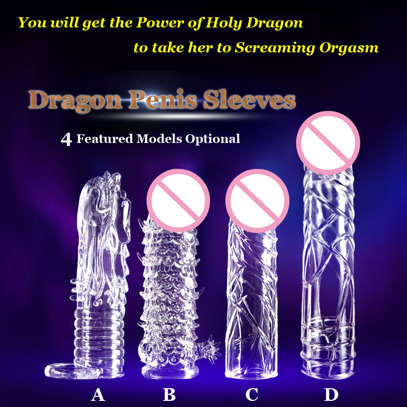 Newest Reusable font b condom b font penis sleeves Dragon Cock Ring Sleeves Penis Extender font