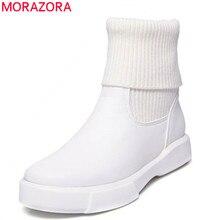 MORAZORA 2020 duży rozmiar 34 43 okrągłe toe krótkie pluszowe buty zimowe jesień kobieta slip on stałe kolorowe botki formularz kobiety biały