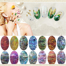Nuevo fashion15 color opcional Nail Art calcomanías de vidrio modelado de concha de abulón, DIYdecorations accesorios etiqueta engomada del clavo, herramienta de la Manicura