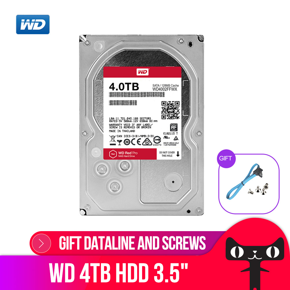 WD RED Pro 4TB Disk Network Storage 3.5 '' NAS Hard Disk Red Disk 4TB 7200RPM 256M Cache SATA3 HDD 6Gb/S WD4003FFBX