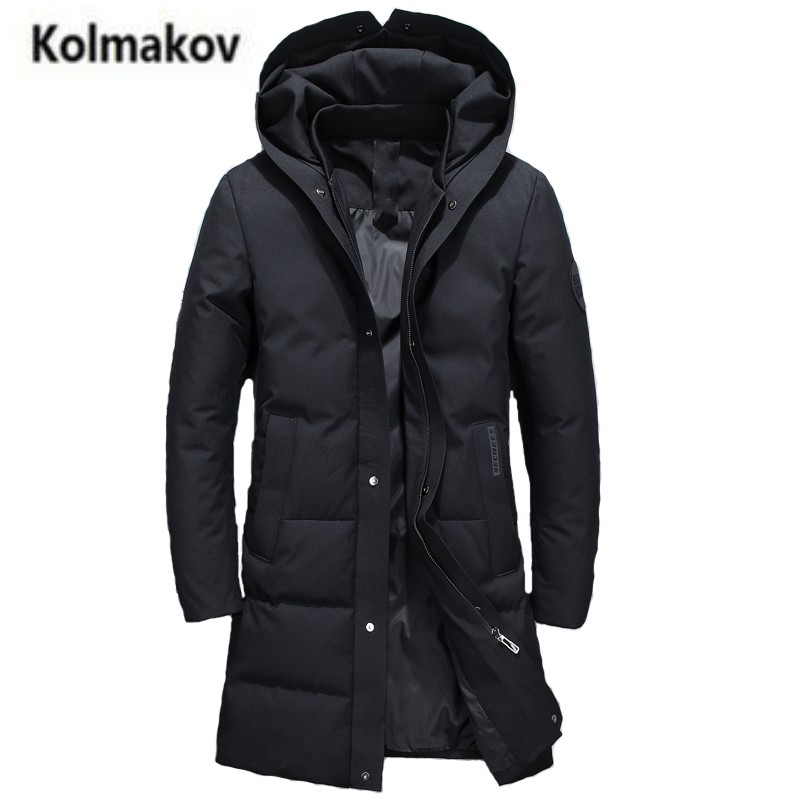 2017 new winter high quality mens fashion hooded long down jacket,90% white duck down coats solid color warm parkas men,M-3XL.