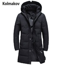 2017 new winter high quality men's fashion hooded long down jacket,90% white duck down coats solid color warm parkas men,M-3XL.