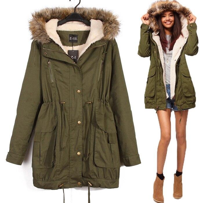 Kadın Ceket Rüzgarlık uzun Ordu yeşil ceket Çıkarılabilir astar artı kadife Kapüşonlu kürk yaka Büyük cepler fermuar Snaps coat