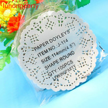 100pcs 4.5 Inch Romantic Flower Embossed Round Paper Lace Doilies, Craft Doyley, Wedding Party Decoration