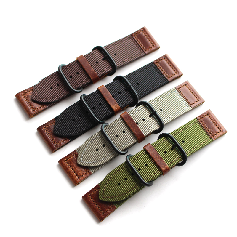 LUKENI Quality 20mm 22mm 24mm Black Brown Green Gray Nylon Leather NATO Watchbands For PAM Outdoor Apple Watch Strap Wristband lukeni 24mm camo gray green blue yellow silicone rubber strap for panerai pam pam111 watchband bracelet can with or without logo