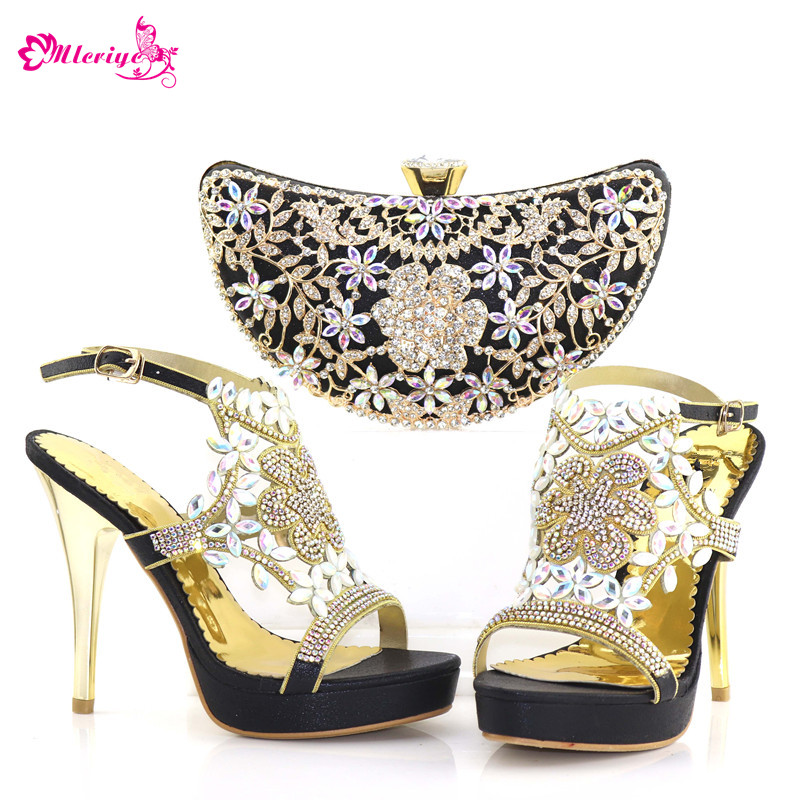 Latest Fashion Italian Shoes with Matching Bags 2018 Matching Shoes and Bag Set In Heels Nigerian Women Party Shoes with Bag Set cd158 1 free shipping hot sale fashion design shoes and matching bag with glitter item in black