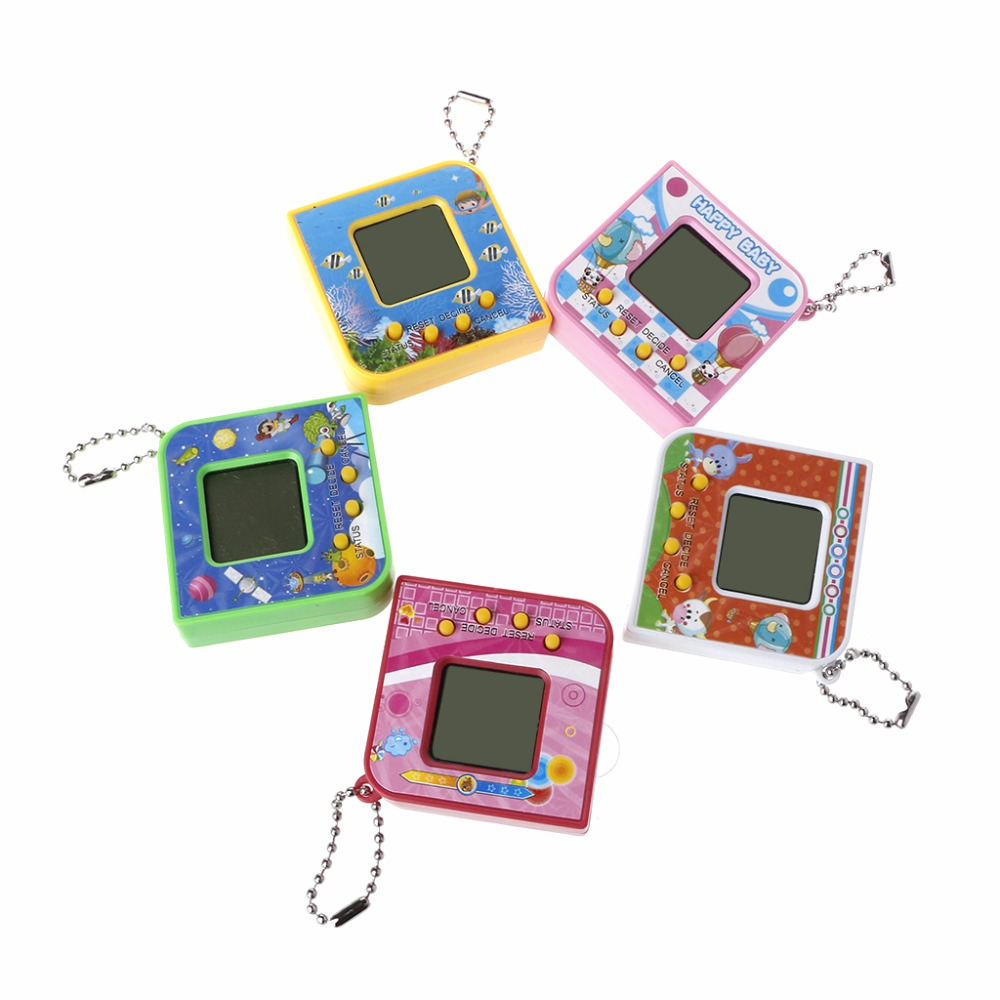 Cute Square Shape LCD Virtual Digital Pet Electronic Game Machine With Keychain Randomly Color #20/12