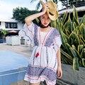 MX085 New Design 2016 women summer loose vintage ethnic jacquard cotton deep v neck bohemian short dress