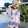 MX085 Nuevo Diseño 2016 mujeres sueltan verano étnico de la vendimia de algodón jacquard v profundo cuello de bohemia del vestido corto