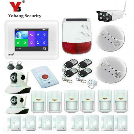 Yobang Security New 4.3Inch All Touch Screen Alexa Version 433MHz GSM&WIFI DIY Smart Home Security Monitor Alarm System Kit