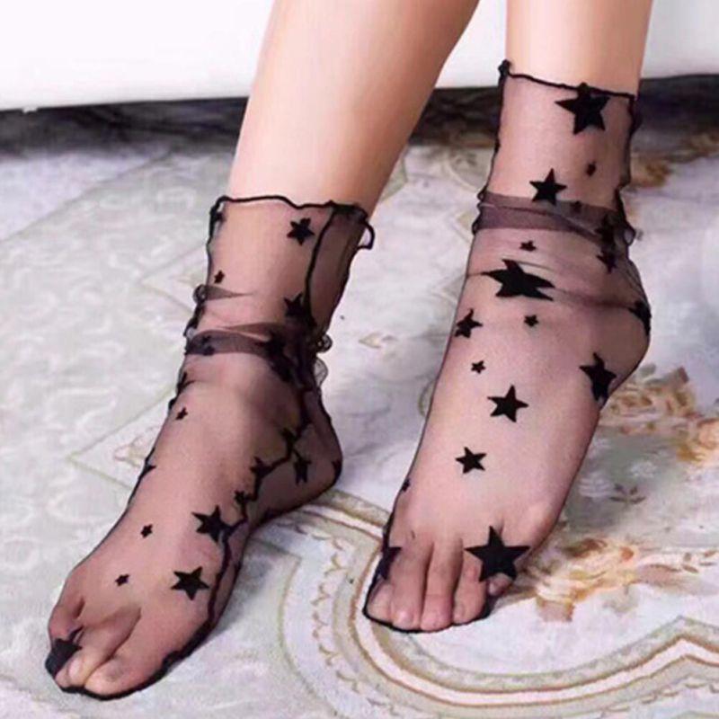 Women's Harajuku Glitter Stars Socks.Ladies Transparent Mesh Gold Sliver Shiny Stars Fishnet Socks Hosiery Sox 6 Colors.Chic