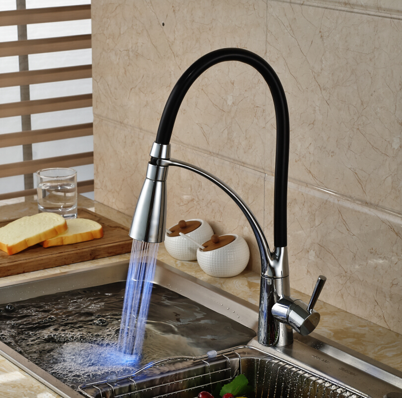 Single Handle Brass Color Changing LED Kitchen Faucet Deck Mount ...