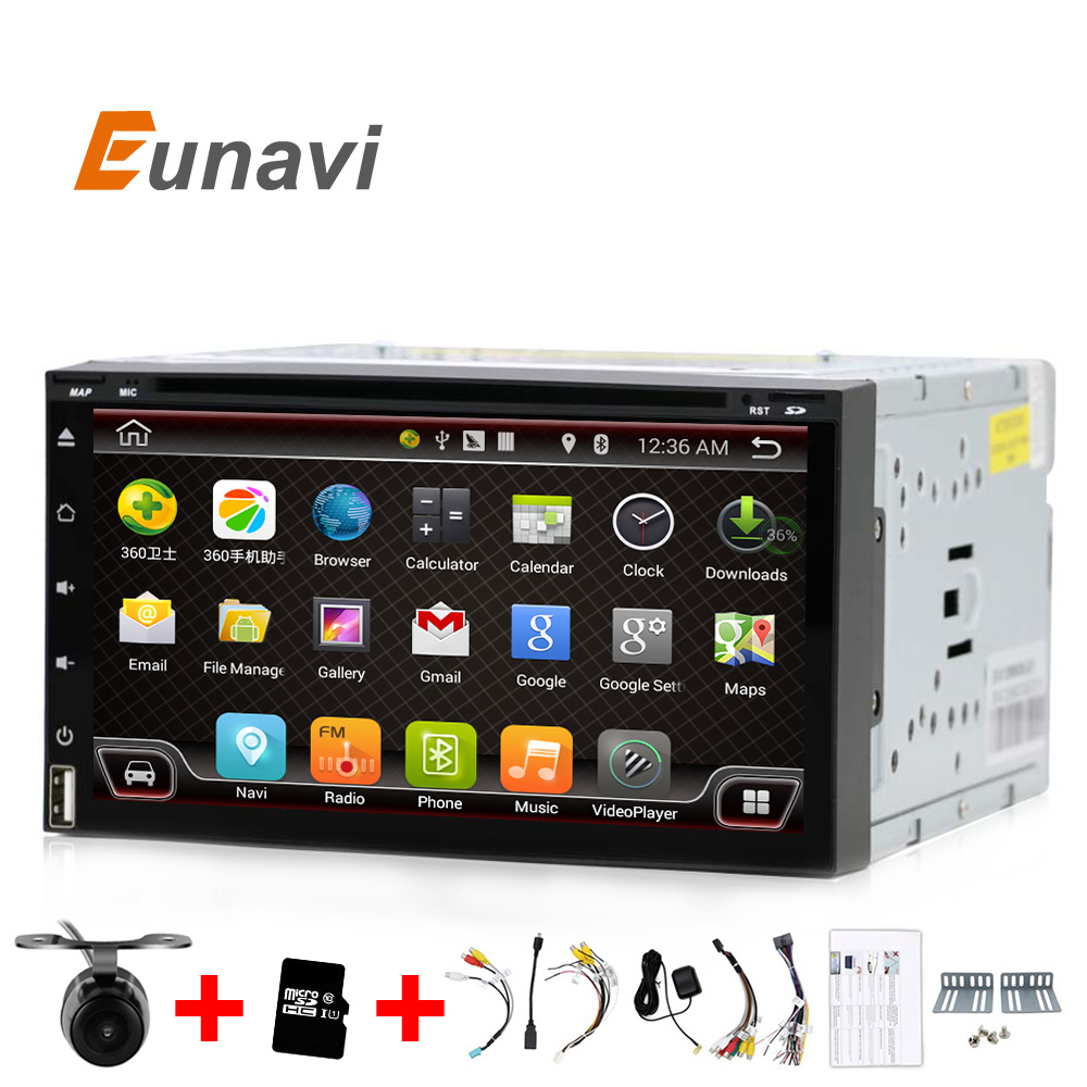 Eunavi Quad Core 2 din android 6.0 car dvd player universal 2din GPS Navigation audio stereo radio with WIFI+bluetooth+camera android 5 1 car radio double din stereo quad core gps navi wifi bluetooth rds sd usb subwoofer obd2 3g 4g apple play mirror link
