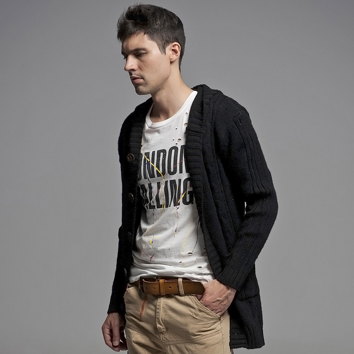 Online Shop Mr.dt slim with a hood lacing cardigan male cardigan ...