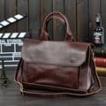 2017 Original Design New Men's Briefcase Male Mad Horse Leather Shoulder Messenger Business Bag Crossbody Bag MB16