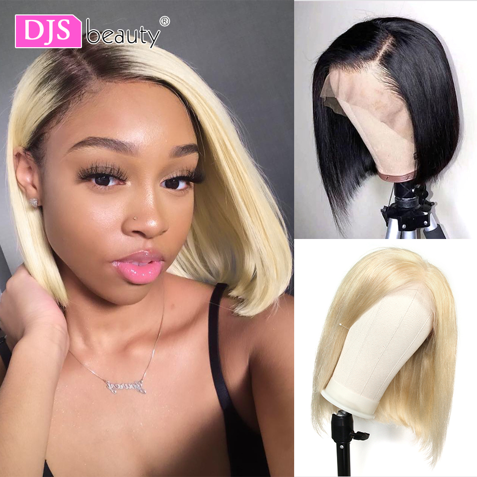 1B 613 Lace Front Human Hair Wig Ombre Honey Blonde 13x6 Bob Wig Straight Remy Brazilian