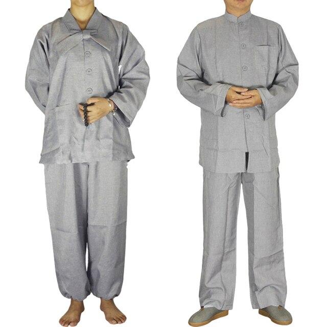 Мужской и Женский Шаолинь костюм дзен буддийский халат лежал буддийской медитации платье равномерное монах одежда костюм