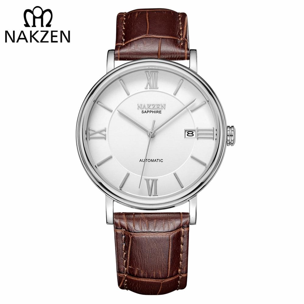 NAKZEN Men Business Automatic Mechanical Watches Brand Luxury Leather Man Wrist Watch Male Clock Relogio Masculino