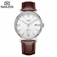 NAKZEN Männer Business Automatische Mechanische Uhren Marke Luxus Leder Mann Armbanduhr Männlichen Uhr Relogio Masculino Miyota 9015