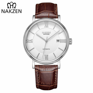 Image 1 - NAKZEN Men Business Automatic Mechanical Watches Brand Luxury Leather Man Wrist Watch Male Clock Relogio Masculino Miyota 9015