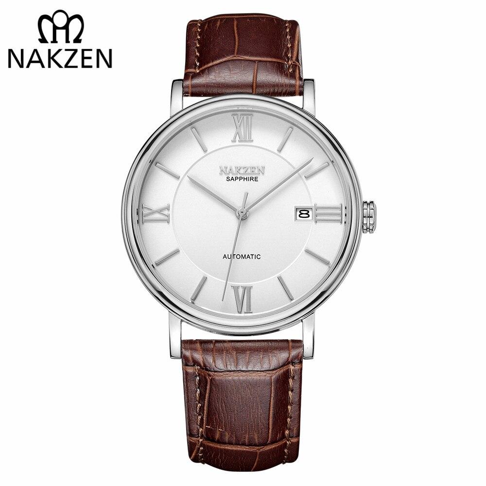 NAKZEN hommes d'affaires automatique montres mécaniques marque de luxe en cuir homme montre-bracelet mâle horloge Relogio Masculino miborough 9015