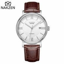 Nakzen homem de negócios automático relógios mecânicos marca luxo couro relógio de pulso masculino relogio masculino miyota 9015