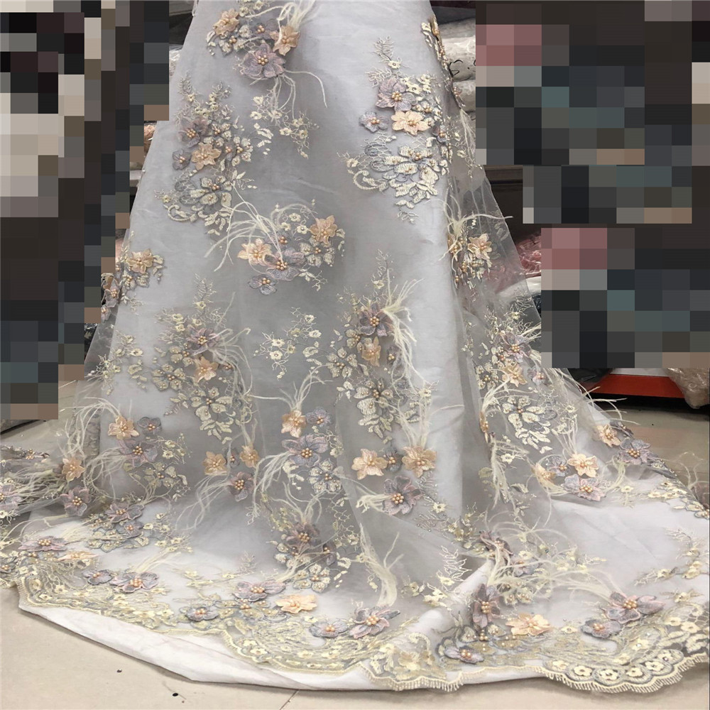 High quality hand made 3D petal beads and feather lace fabric, French lace fabric for high end wedding gowns / party/dresses 148