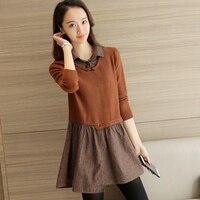 52 autumn outfit, new Korean shirts, irregular collar knit, fake two piece sweater, F1560