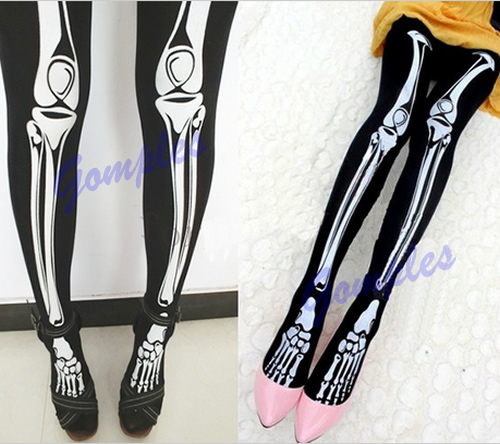 Funny Halloween Skeleton Bone Printed Skull Tights Pantyhose Punk Women Stocking