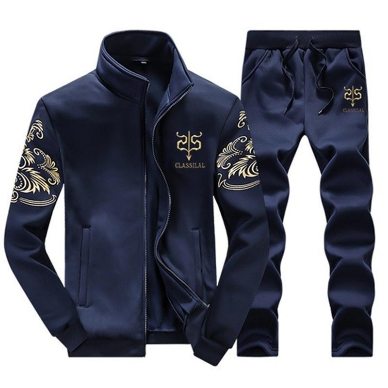 Herren Winter Wolle Trainingsanzug Sportswear Casual Marke Man Freizeit Warme Outwear Mäntel Trainingsanzüge Sets 2 stücke Jacken + Hosen für Männliche