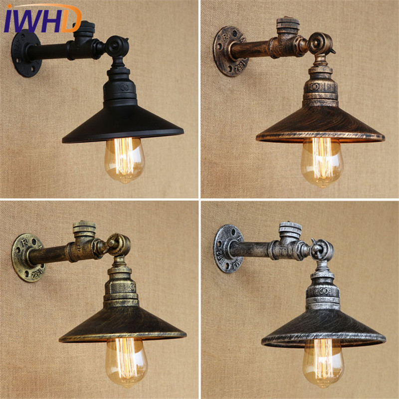 IWHD Loft Style Vintage LED Wall Lamp Industrial Edison Wall Sconce With Switch Water Pipe Wall Light Fixtures Indoor Lighting loft style edison decorative wall sconce mirror wall light fixtures vintage industrial lighting wall lamp for home lampara