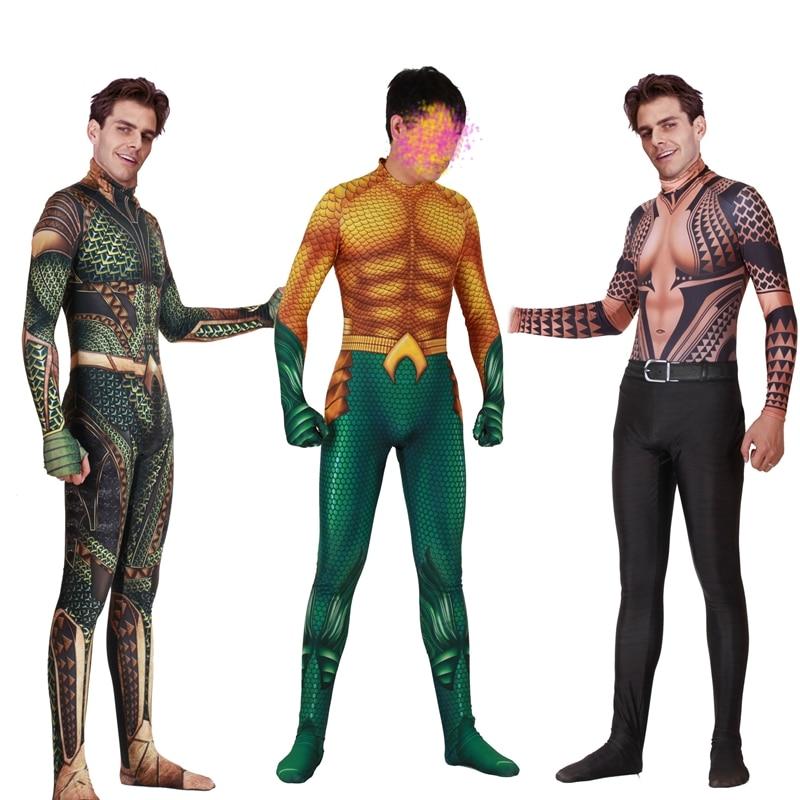 FOGIMOYA Aquaman Cosplay Costume Zentai Arthur Curry Orin Superhero Bodysuit Suit Jumpsuits