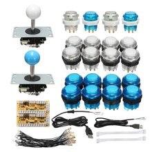 Аркадный джойстик детали набора DIY с светодиодная кнопка + ДЖОЙСТИК + Нулевая задержка USB энкодер + кабели игровой джойстик Аркада наборы сделай сам